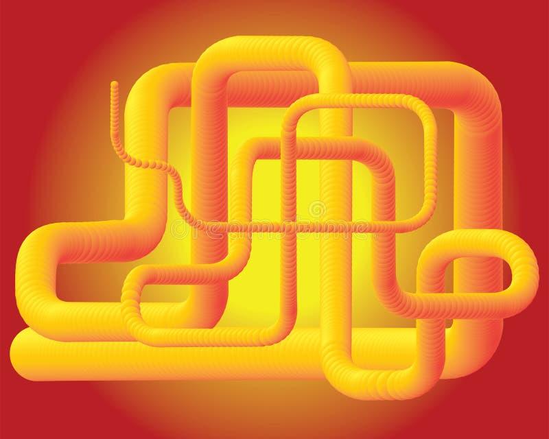 黄色3D管设计 皇族释放例证