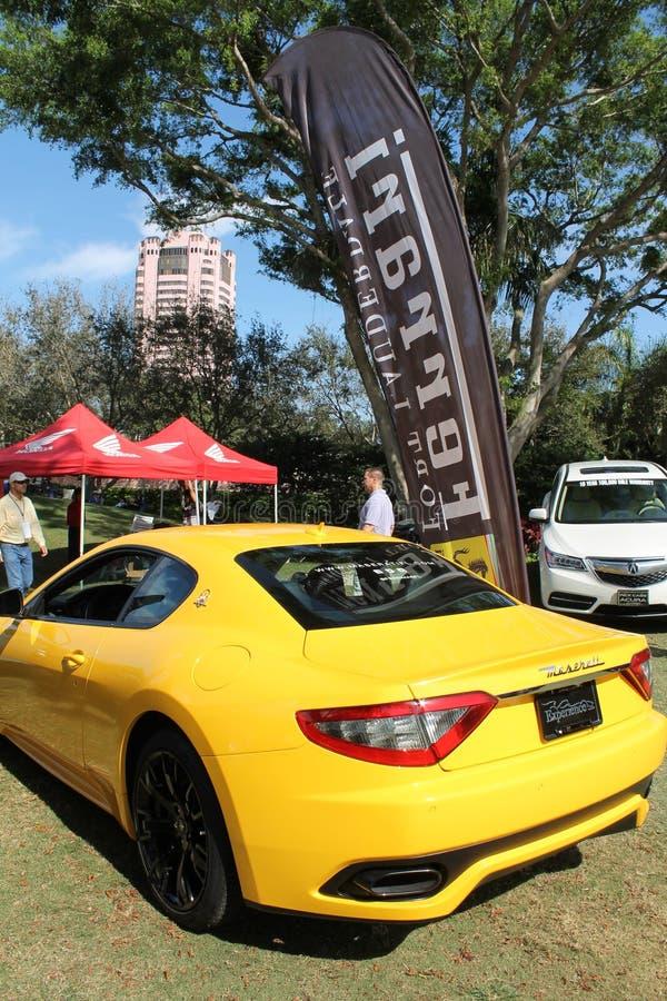 黄色Maserati sportscar在南佛罗里达 免版税库存照片