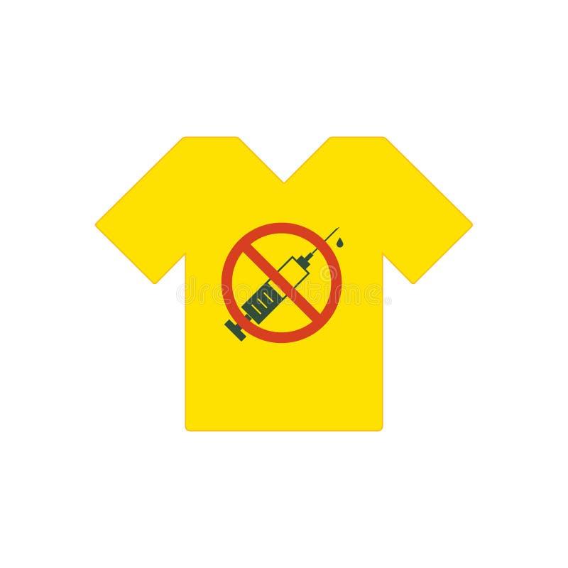 黄色T恤杉 没有允许的药物 有禁止的标志的-没有药物注射器 在禁止红色圈子的注射器象 皇族释放例证