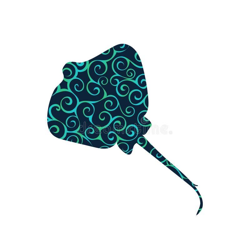 黄貂鱼鱼螺旋样式颜色剪影水生动物 库存例证