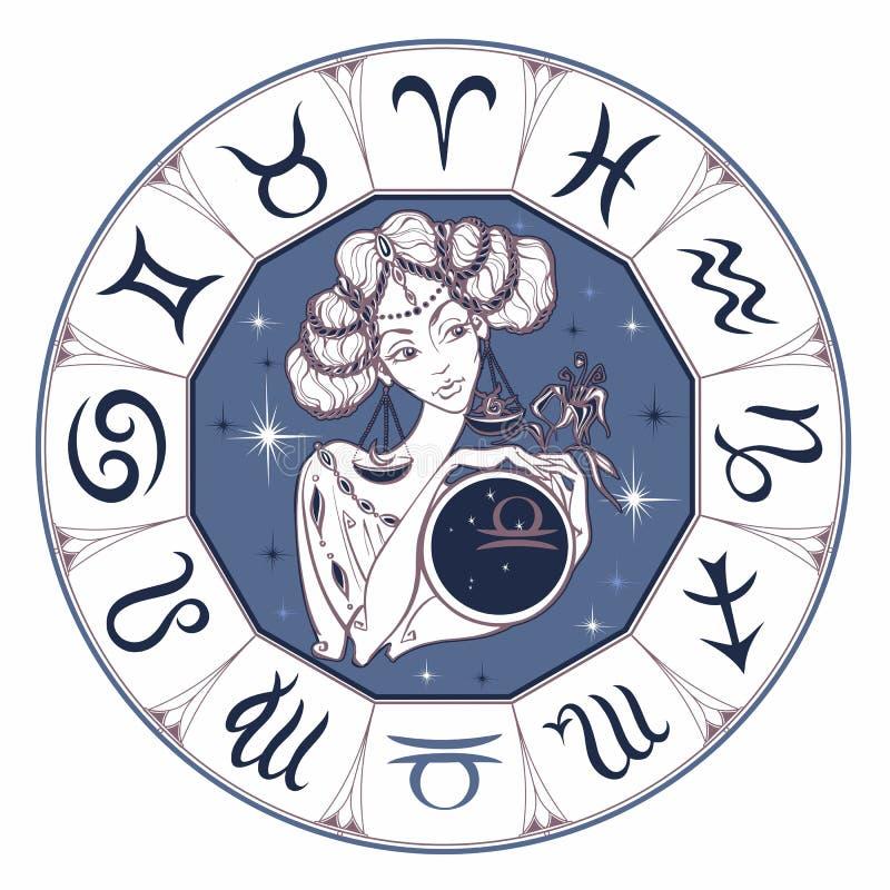黄道带作为美女的标志天秤座 占星 吃 向量 向量例证