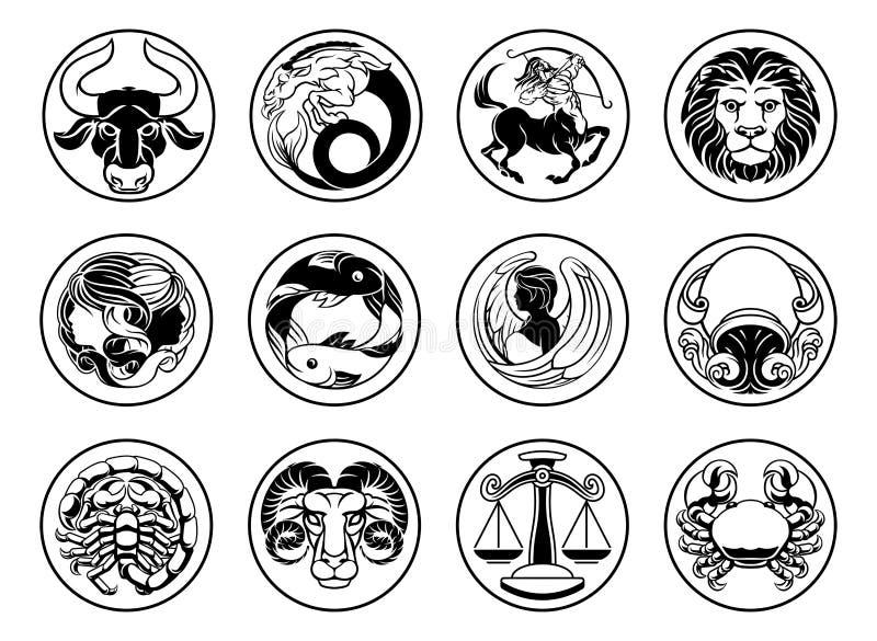 黄道带占星术占星星签署符号集 皇族释放例证