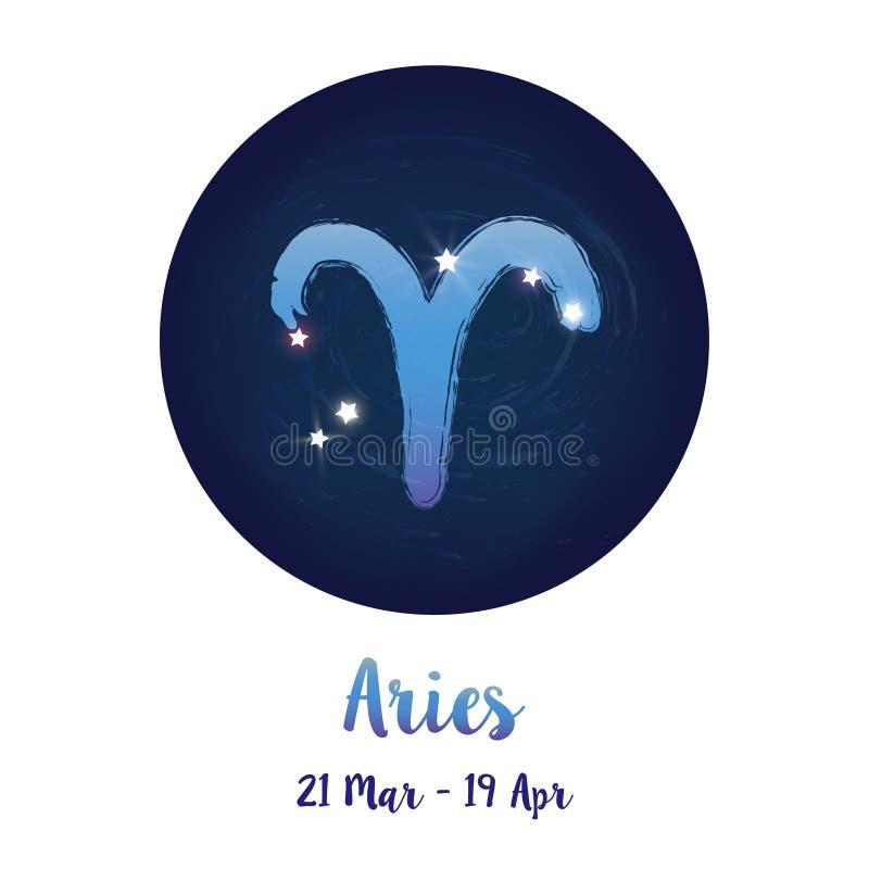 黄道带宇宙星空间的标志白羊星座与白羊星座星座象 在圈子背景里面的蓝色繁星之夜天空 星系spac 皇族释放例证