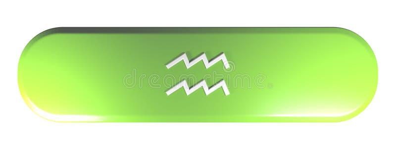 黄道带宝瓶星座象绿色被环绕的长方形按钮- 3D翻译例证 向量例证