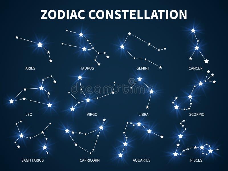 黄道带星座 与发光的星的黄道带神秘的占星术传染媒介标志在durck蓝色背景 向量例证