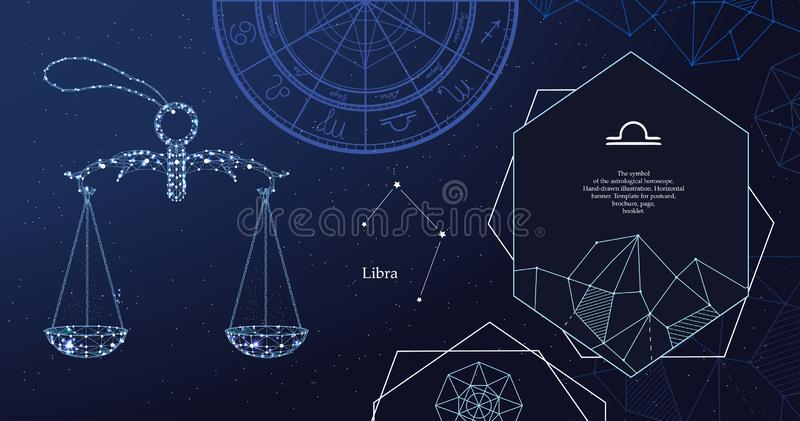 黄道带标志天秤座 占星术占星的标志 r 皇族释放例证