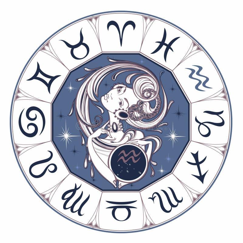黄道带标志宝瓶星座美女 占星 吃 向量 向量例证