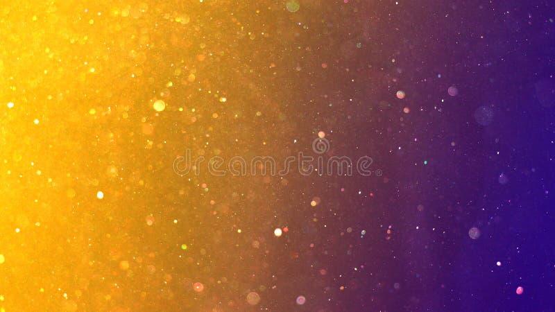 黄金和紫尘颗粒圣诞新年背景 图库摄影