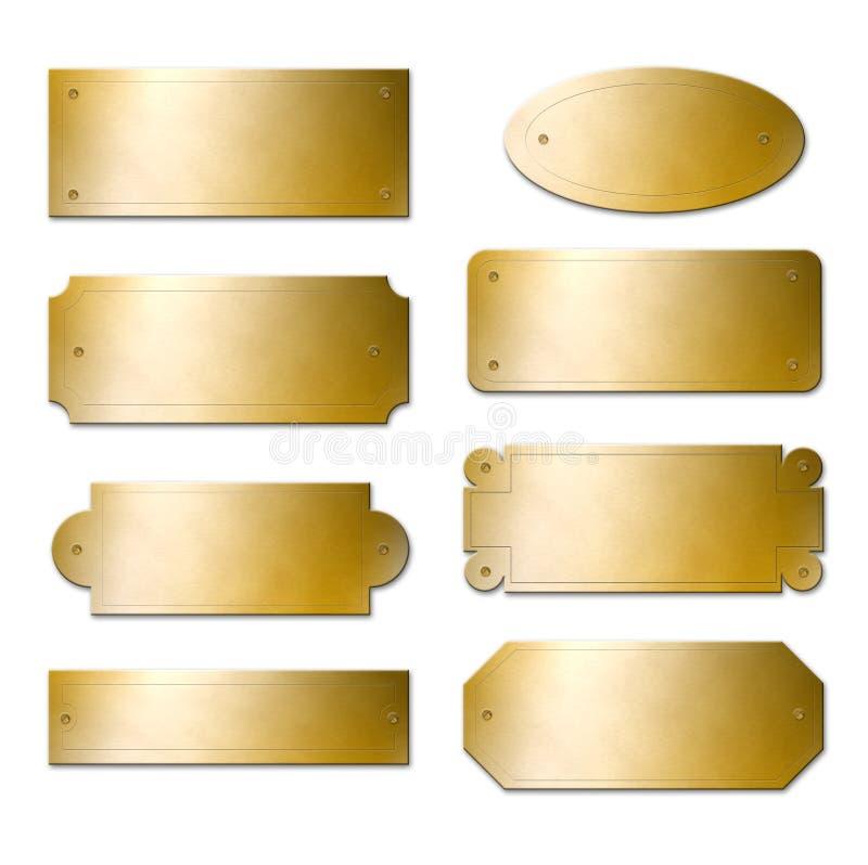 黄铜名牌 向量例证