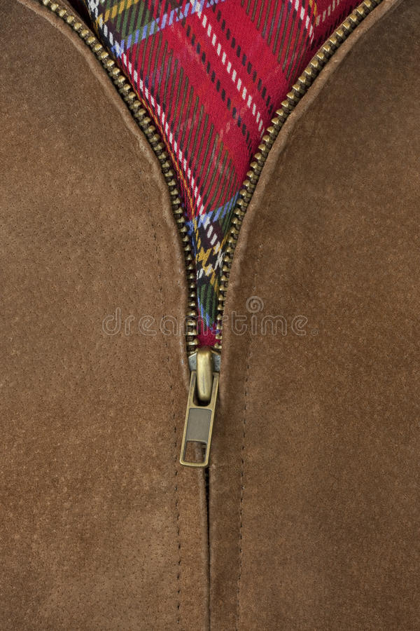 黄铜夹克皮革解压缩的拉链 图库摄影