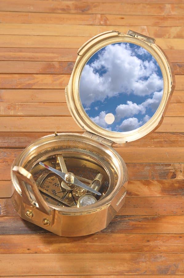 黄铜指南针老牌 库存图片