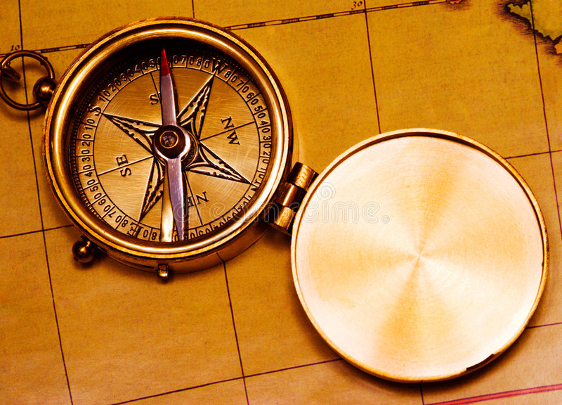 黄铜指南针老牌 库存照片