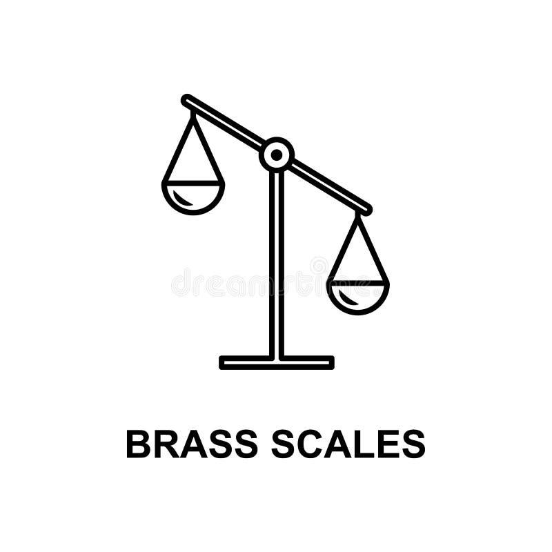 黄铜称象 测量仪器象的元素与名字的对于流动概念和网apps 稀薄的线黄铜称象加州 向量例证
