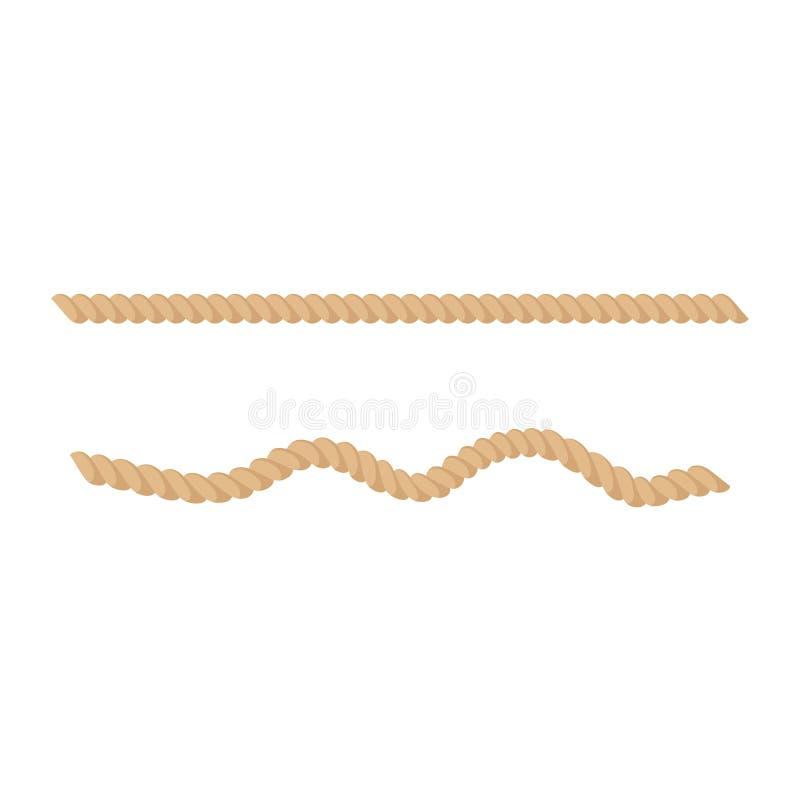 黄麻或大麻扭转了自然棕色绳索传染媒介例证 向量例证