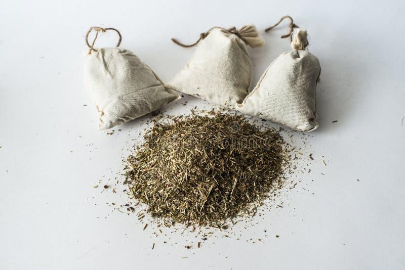 黄麻袋子装饰用香料 库存图片