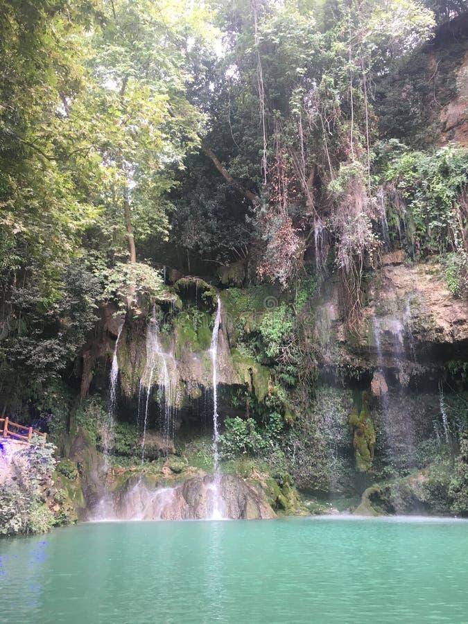 黎巴嫩山美黎巴嫩餐厅天堂自然瀑布自然独特景观 库存照片