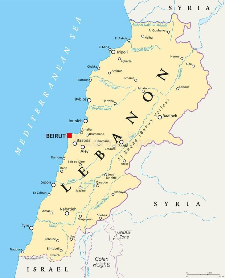 黎巴嫩政治地图 向量例证