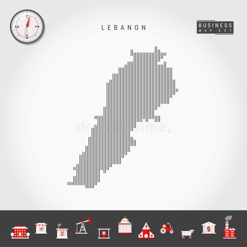 黎巴嫩的传染媒介垂直线地图 黎巴嫩的镶边剪影 现实指南针 r 向量例证