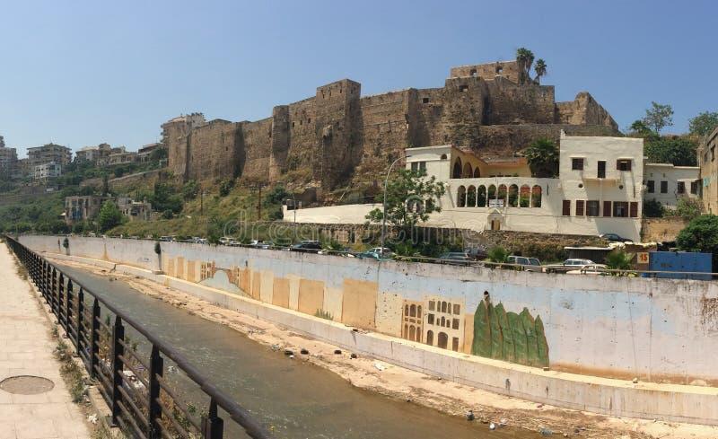 黎巴嫩的黎波里阿布阿里河旁的中世纪城堡 一所典型的公立学校 库存图片