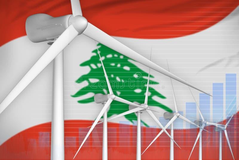 黎巴嫩风能力量数字图表概念-绿色自然能工业例证 3d?? 向量例证