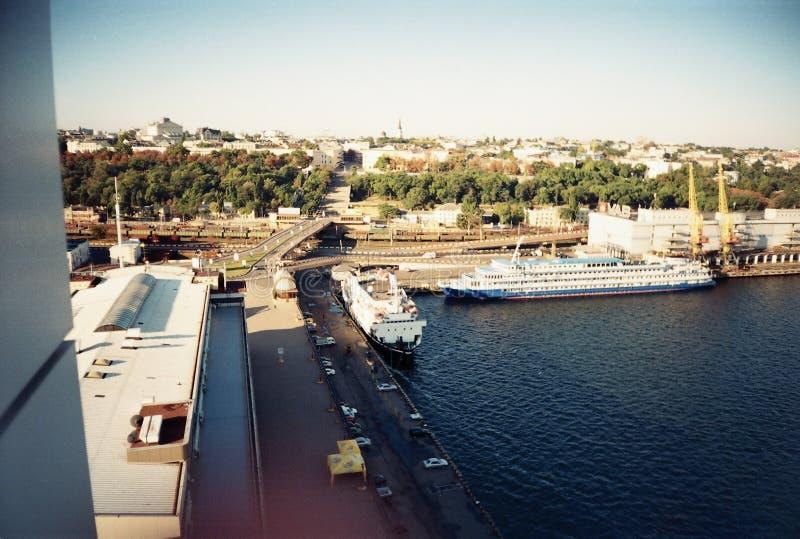 黎明在港口城市傲德萨 库存图片