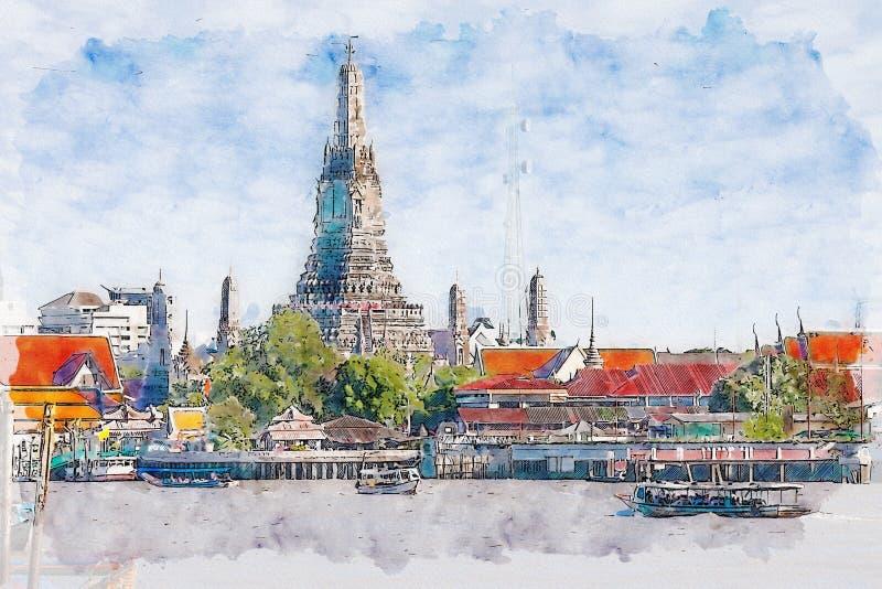 黎明寺的水彩例证,曼谷,泰国 库存例证