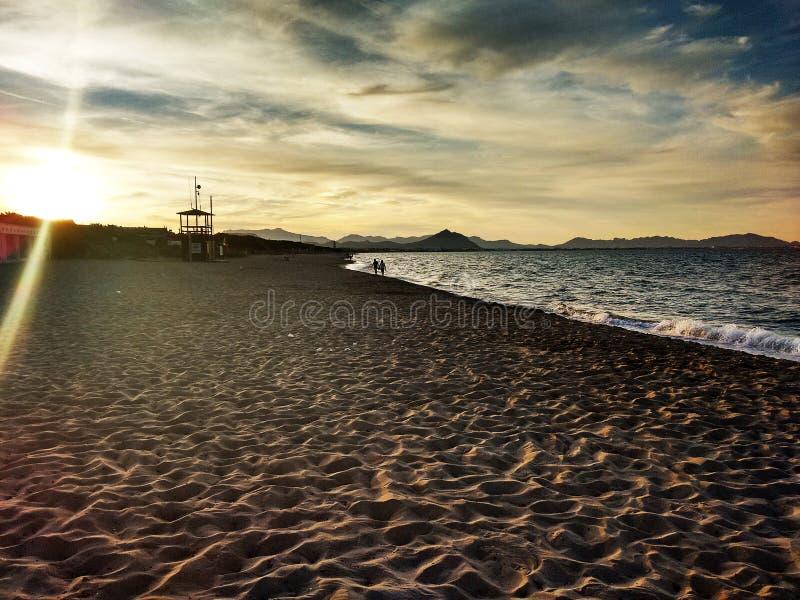 黎明日落海滩海天空 免版税库存图片
