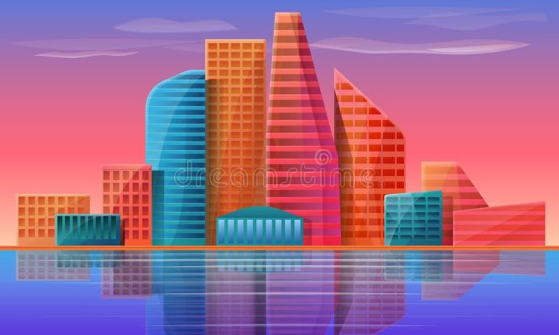 黎明背景下的城市全景 向量例证