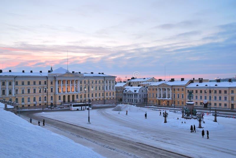黎明赫尔辛基参议院正方形 免版税库存图片