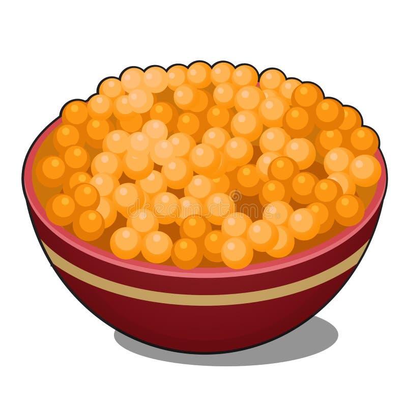 黏土碗用在白色背景隔绝的红色鱼子酱 传染媒介动画片特写镜头例证 皇族释放例证