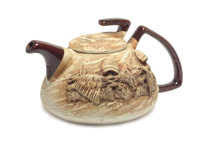 黏土茶壶 免版税图库摄影