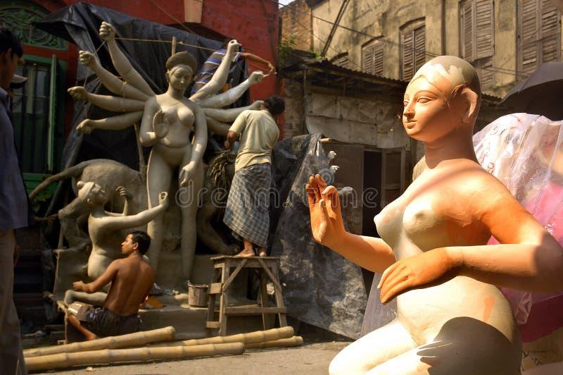 黏土durga节日神象印度s 免版税库存照片