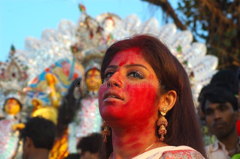 黏土durga节日神象印度s 库存照片