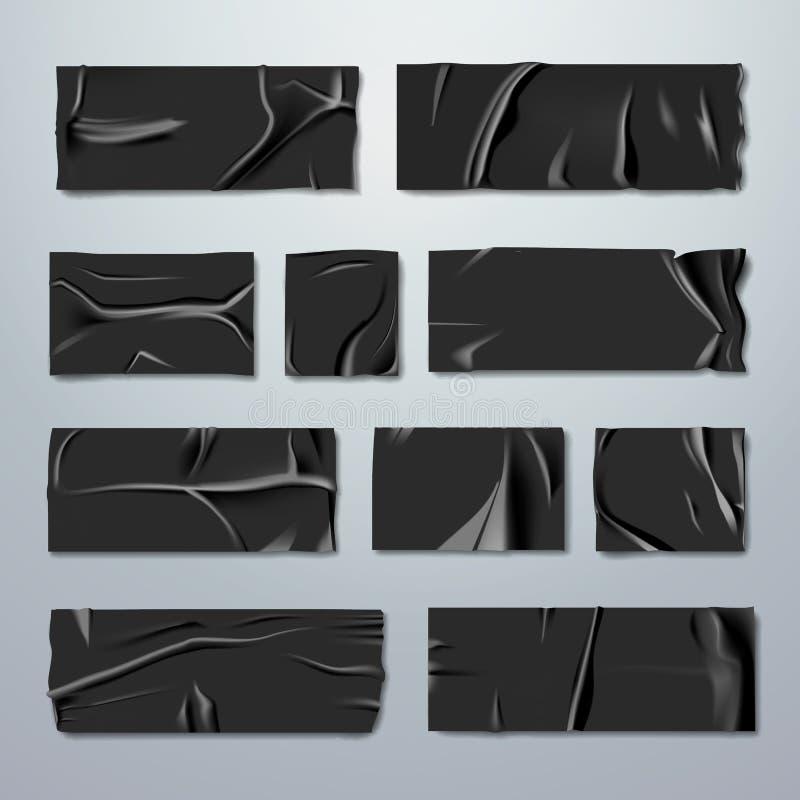 黏着性或修稿带集合 与折叠的黑橡胶绝缘胶带与在背景的被剥去的边缘 定象 皇族释放例证