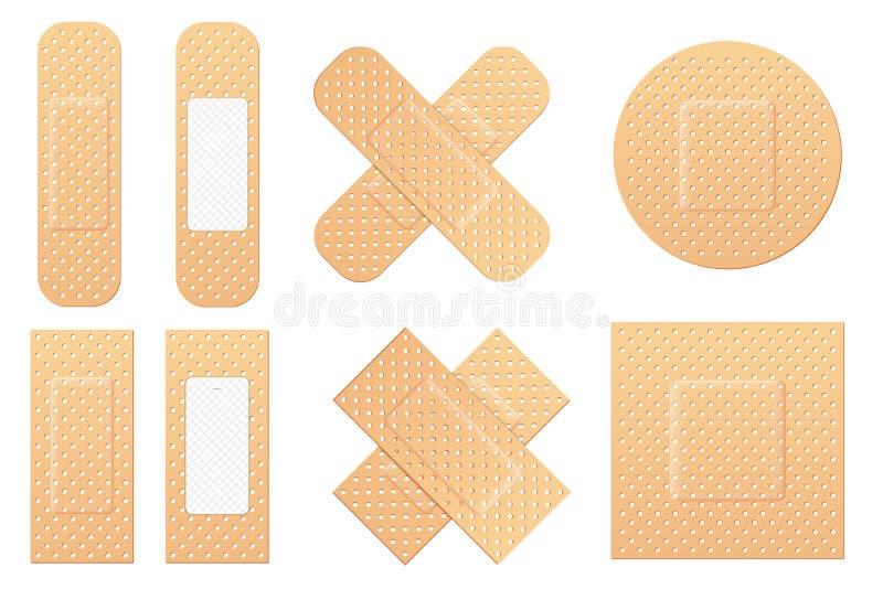 黏着性绷带有弹性医疗膏药的创造性的传染媒介例证在透明背景设置了被隔绝 艺术设计军医 皇族释放例证