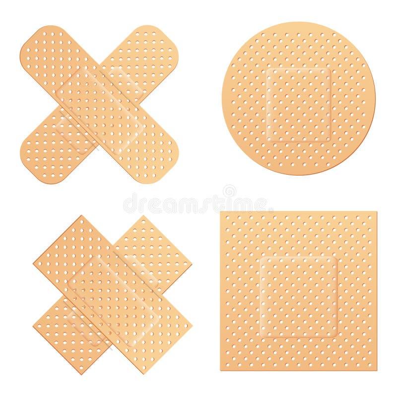 黏着性绷带有弹性医疗膏药的创造性的传染媒介例证在透明背景设置了被隔绝 艺术 向量例证