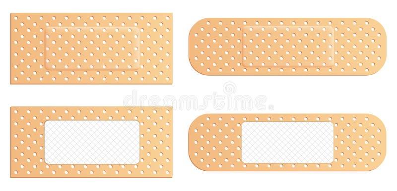 黏着性绷带有弹性医疗膏药的创造性的例证在背景设置了被隔绝 艺术设计医疗有弹性补丁 向量例证