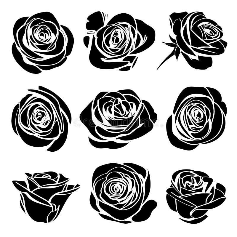 黑与空白线路collectoin的剪影玫瑰色花开花 皇族释放例证