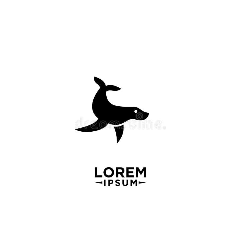 黑与简单的shilouette商标象的概述封印使用的和游泳的海洋动物设计传染媒介例证 库存图片