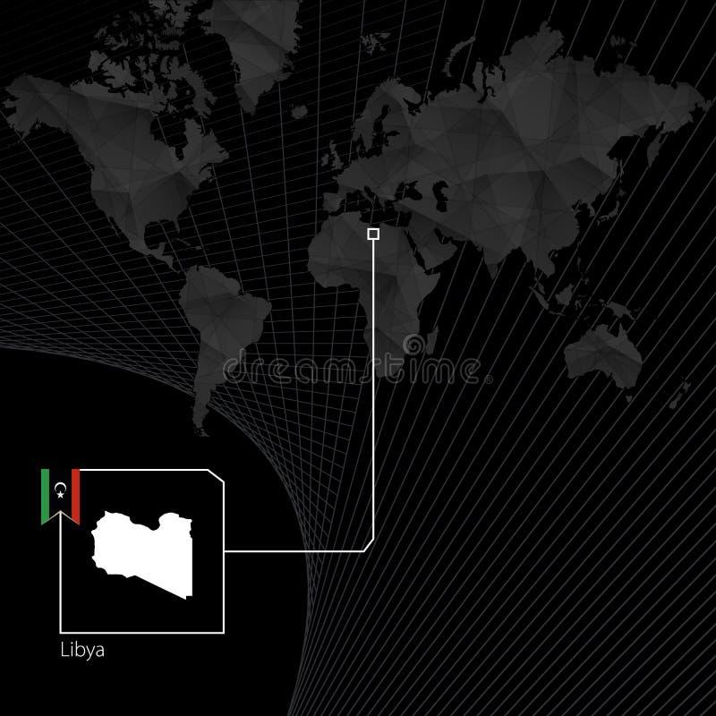黑世界地图的利比亚 利比亚的地图和旗子 向量例证