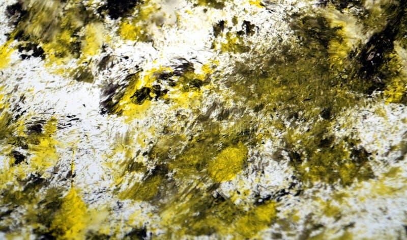 黑丝毫金银铜合金银色混合生动的被弄脏的明亮的水彩绘刷子丙烯酸酯的抽象背景、纹理和冲程  库存照片