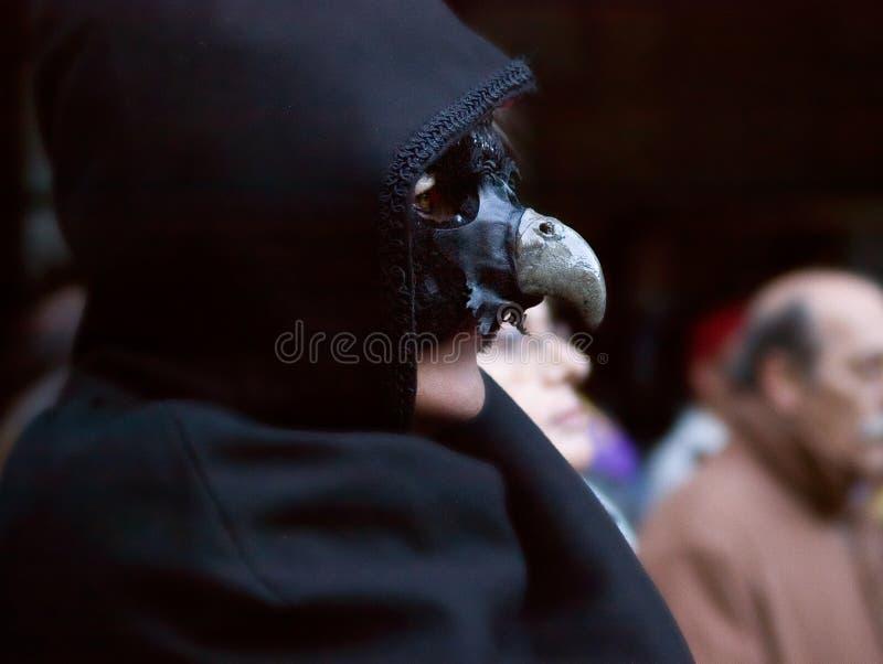 黑乌鸦服装在比尔萨,韦斯卡省比利牛斯  库存照片