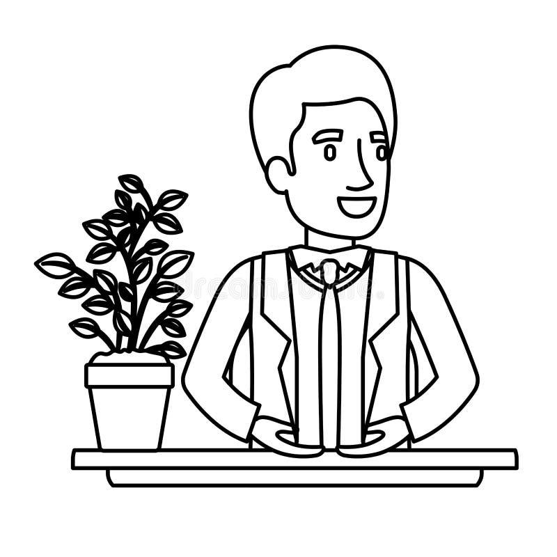 黑书桌的剪影特写镜头半身体人助理在正装 皇族释放例证