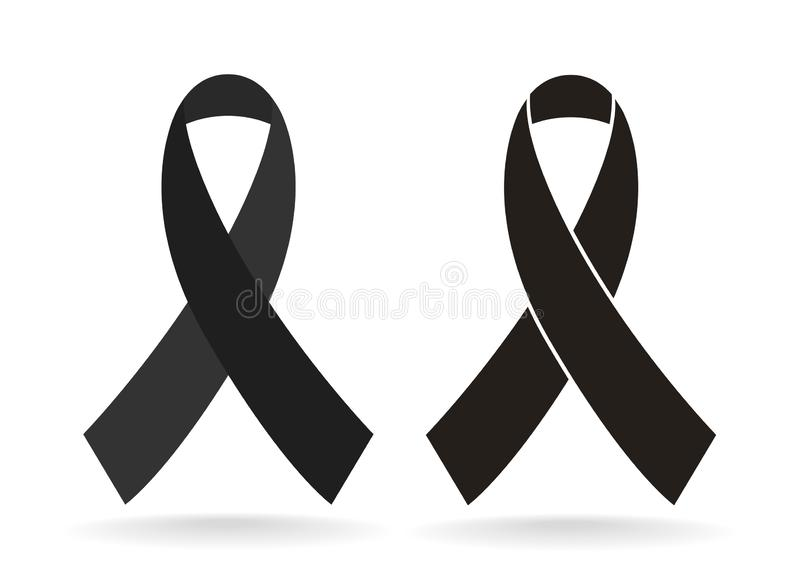 黑了悟丝带 哀悼和黑瘤象 向量例证