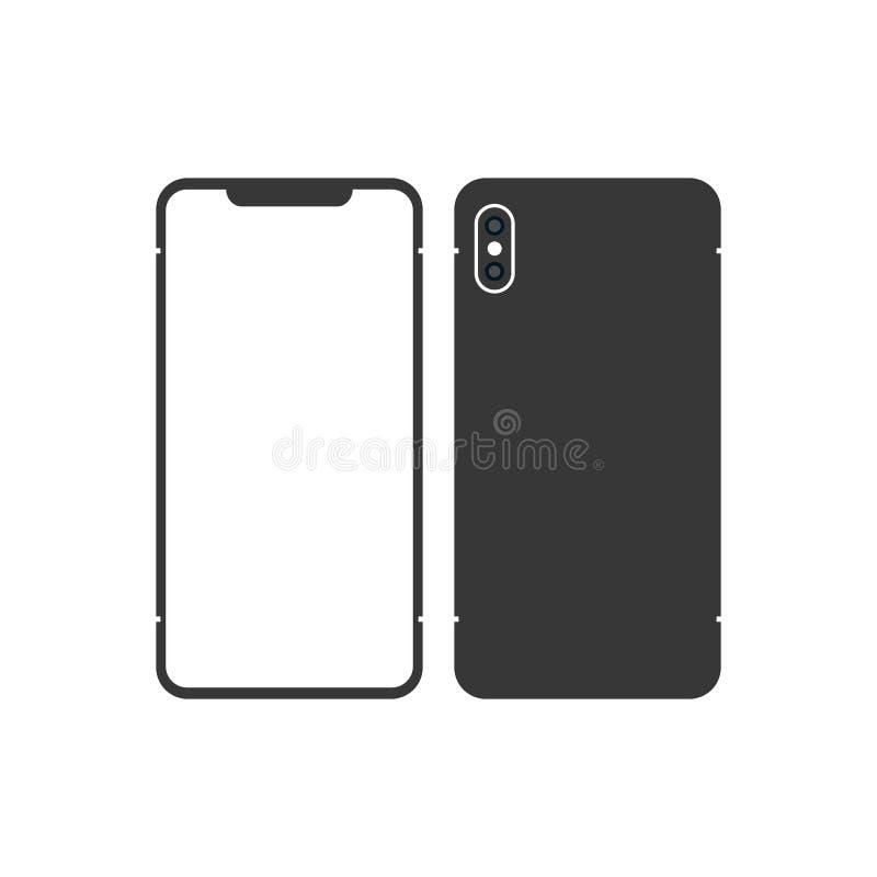 黑亭亭玉立的智能手机的版本相似与与黑屏的iphone x 适应图标 皇族释放例证