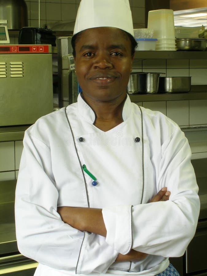 黑人主厨女性 免版税库存图片