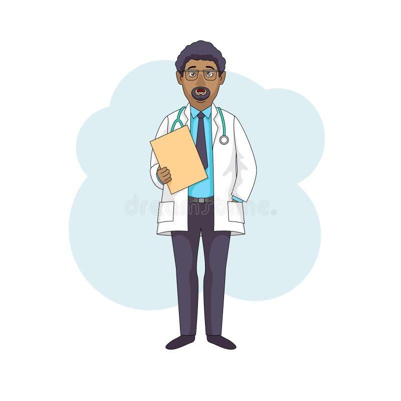 黑人医生教授谈话,在白色外套 皇族释放例证