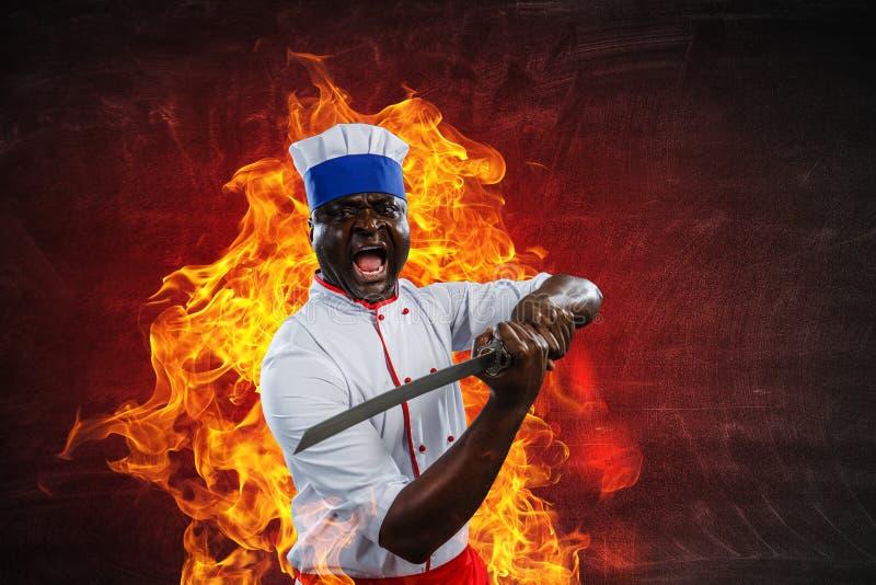 黑人厨师创造性烹调 混合画法 免版税库存照片