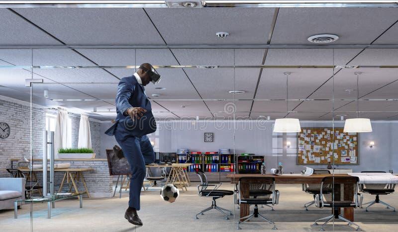 黑人和虚拟现实足球 库存图片