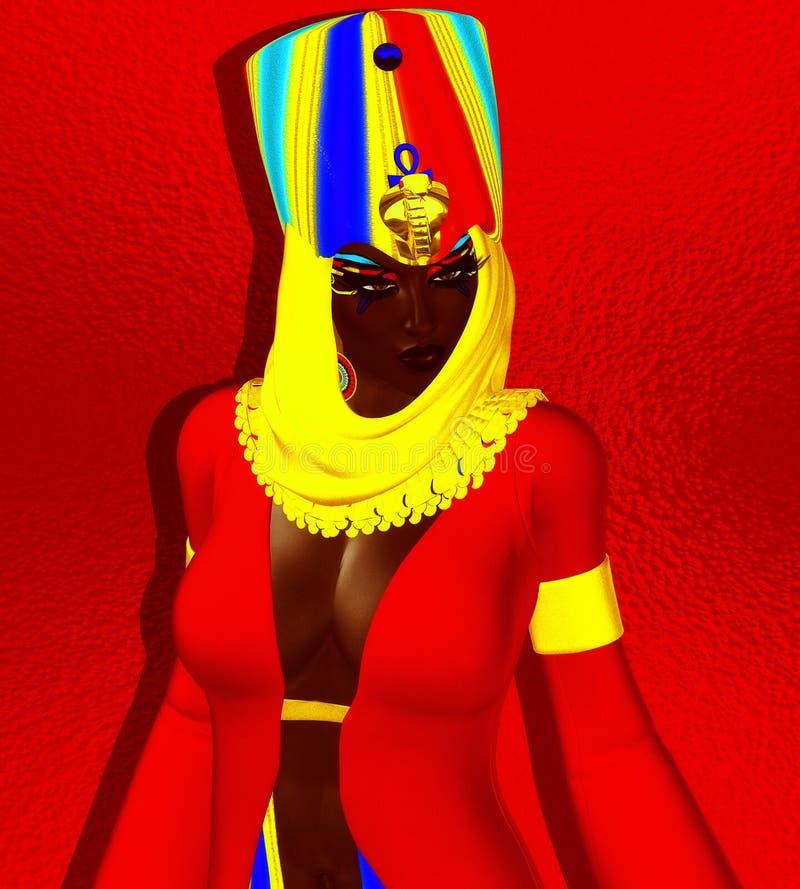 黑人埃及妇女、公主、法老王或者女王/王后 皇族释放例证